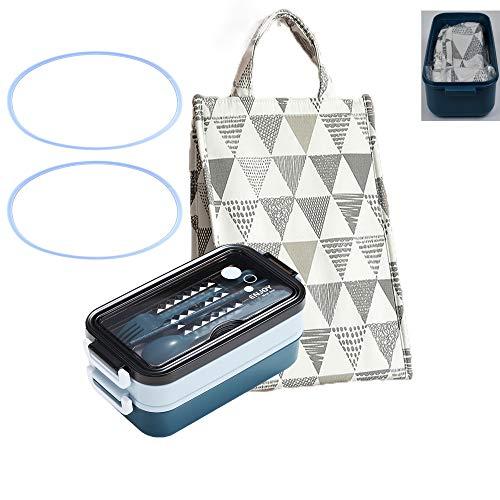 ALKAID Lunchbox Bento Box. Die Auslaufsichere Brotdose Kann in Der Mikrowelle Erhitzt Werden.isolierbeutel. Geeignet Zum Mittagessen Für Erwachsene Und Schüler.1300ml (Die Tasche ist in der Brotdose)