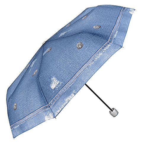Paraguas Plegable Mujer Estampado Jeans Azul Claro