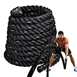 LUOOV Workout Strength Battle Exercise Training Rope, 1.5/2in Diameter, 30/40/50ft Length,Undulation Poly Dacron Battle Rope (40' L x 2' W, Yellow/Black)