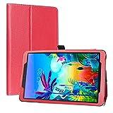 LiuShan Kompatibel mit LG G Pad 5 Schutzhülle, PU-Leder, schmal, faltbar, mit Standfunktion, für LG G Pad 5 10.1 T600 Tablet PC (nicht für LG G Pad X II 8.0 Plus V530), Rot