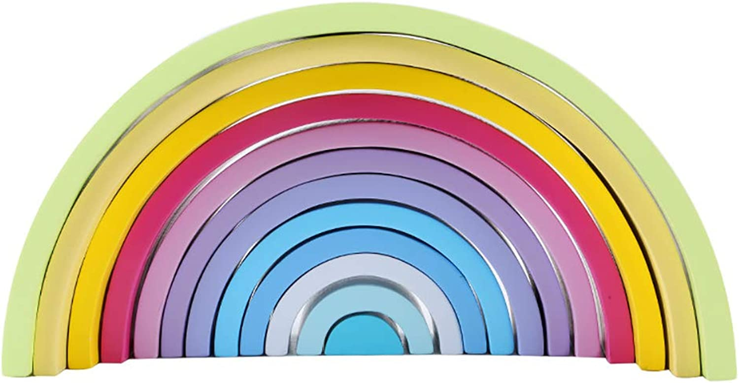 Seawood Durable 12 Puzzles Nontoxic Wooden Rainbow Tunnel Stacker Nesting Sculpture Building Kids Toy Macaron