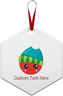 Custom Personalized Christmas Emoji Angry Aluminun Hexagon Shape Christmas Ornaments Red Ribbon 2 Sided Printing Gift Ideas