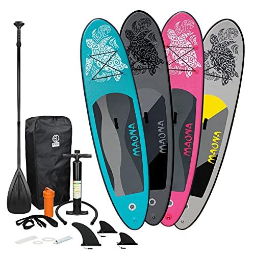 ECD Germany Aufblasbares Stand Up Paddle Board Set Maona Grau, 308x76x10 cm, aus PVC, bis 120 kg, Alu-Paddel, Komplettes Zubehör, SUP Board Paddling Board Paddelboard Surfboard Surfbrett Paddelbrett