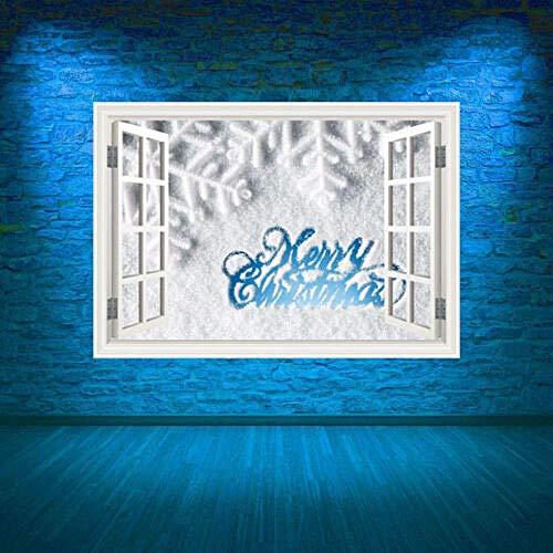 MXLYR Pegatinas de pared Etiqueta engomada gráfica del arte de la pared de la ventana de la nieve de la Feliz Navidad a todo color