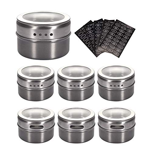 Sinzau Gewürzdosen aus Edelstahl, magnetische Gewürzdosen, magnetische Gewürzdosen auf Kühlschrank (6 Stück, 120 Etiketten)