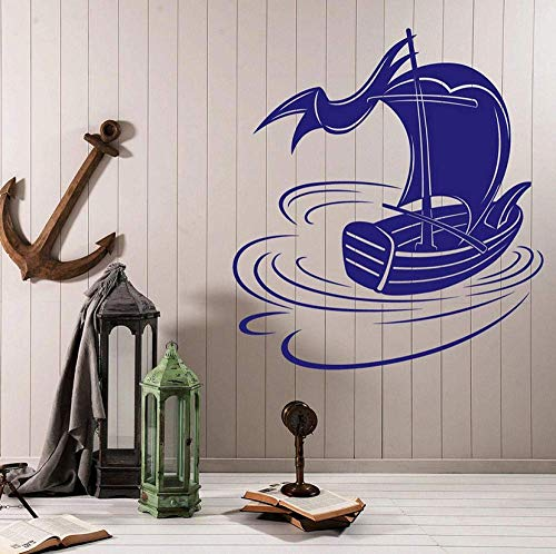 Muursticker Boot Skiff Vlag Water Vakantie Zomer Vakantie Kids Slaapkamer Badkamer Kwekerij Home Decor Art Mural Waterdicht 42x46cm