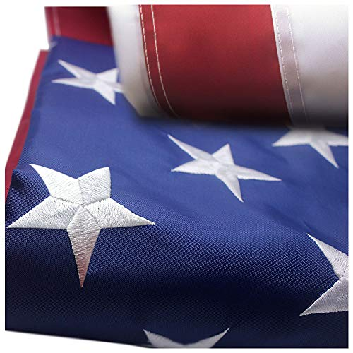 American Flag 4x6 ft with Durable 300D Nylon Outdoor Flags - Embroidered Stars, Sewn Stripes, Brass Grommets Outside US Flags.