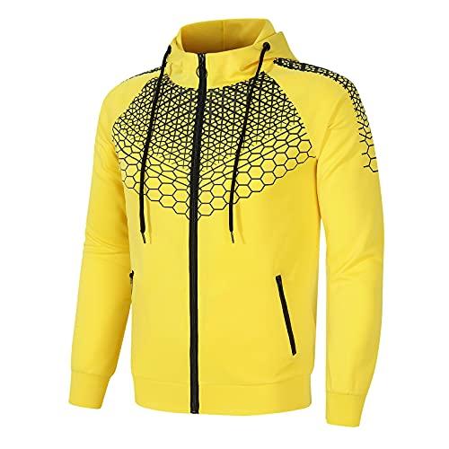 Briskorry Herren und Damen Blumen Trainingsanzug Set Jogginganzug 2-teiliger Streifen Kapuzenpullover + Hose Sportanzug Jungen Gelb