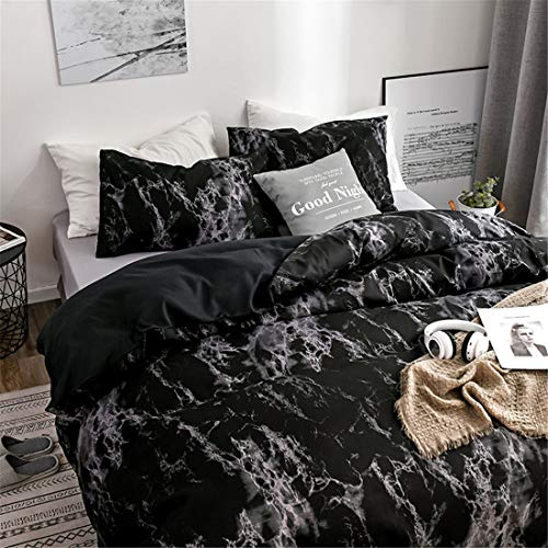 Marble Duvet Cover Set Double Marble Pattern Black Modern Quilt Duvet Cover Bedding Set with Zipper Closure Bedding Set for Men and Women
