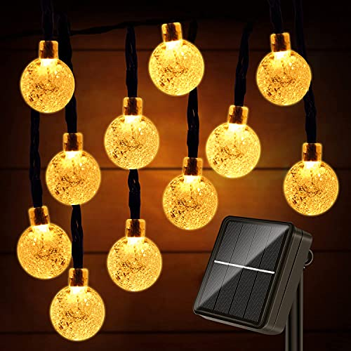 Guirnaldas Luces Exterior Solar, 60LED 11M Luces Solares Led Exterior Jardin, 8 Modos Cadena de Luces Decoracion para Terraza, Fiestas, Bodas, Patio, Jardines, Blanco Calido