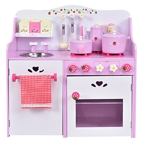 GOPLUS Kinderküche aus Holz, Spielküche mit Wasserhahn, Spielzeug-Küchenzeile, Spielzeugküche mit Schränken, Holzküche Kinder, Kinderspielküche mit Zubehör, Rosa