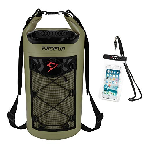 Piscifun Waterproof Dry Bag Backpack 20L Floating Dry Backpack with Waterproof Phone Case for Water Sports - Fishing Boating Kayaking Surfing Rafting Camping Gifts for Men and Women Army Green