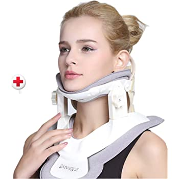 Cervical Neck Traction Device - Neck Collar & Brace - Neck & Shoulder Pain Relief - Stretcher Collar for Travel/Home Improved Spine Alignment(White/Grey)