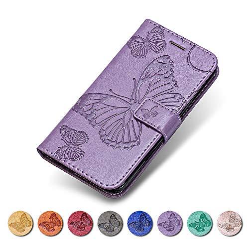 KKEIKO LG G6 Hülle, LG G6 Leder Handyhülle Schutzhülle, Schmetterling Muster Stoßsichere Lederhülle Brieftasche Flip Case für LG G6 - Violett