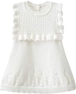 Kids Dresses Girls, Little Girls Knitted Sleeveless White Dress, Girls Princess Costume