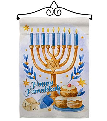 Angeleno Heritage Jewish Festival Garden Flag Set Wall Hanger Winter Hanukkah Candle Bonsai Menorah Chanukah David House Decoration Banner Small Yard Gift Double-Sided, 13'x 18.5', Thick Fabric