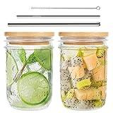 Mason Jar, Wide Mouth Mason Jars 16 Oz, Mason Jar Cups with Lids and Straws, Set of 2 Mason Jar Drinking Glasses