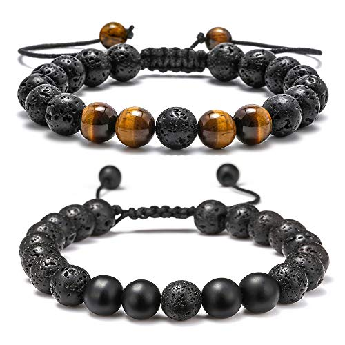 Lava Rock Bracelet - 8mm Lava Rock Bead Tiger Eye and Black Matte Agate Anxiety Bracelet, Men Women Stress Relief Yoga Beads Adjustable Aromatherapy Essential Oil Diffuser Healing Bracelets