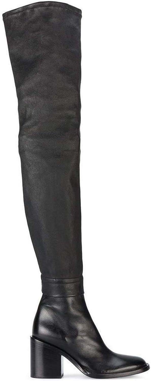 HNStiefel Damen Oberschenkel Hoch über über Knie Stiefel Overknee Langschaftstiefel Blockabsatz Leder Schwarz Schuhe Größe 35-42