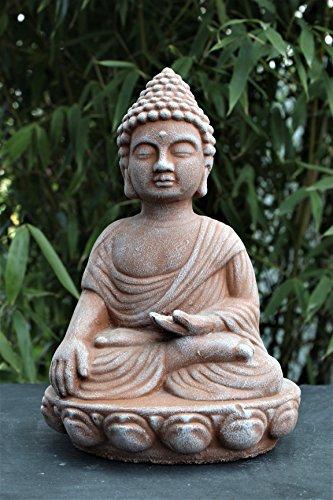 Tiefes Kunsthandwerk Steinfigur Buddha - Terrakotta, Deko Statue frostsicher und wetterbeständig für Haus und Garten, Steinfigur