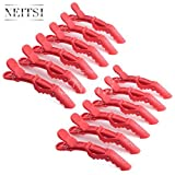 12pcs Neitsi Plastic Crocodile Hairdressing Sectioning Hair Styling Matte Clips Hair Grips (Red)