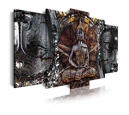 DekoArte 83 - Quadri moderni Stampa di Immagini Artistica Digitalizzata | Tela Decorativa Per Soggiorno o Stanza da letto | Stile Zen con buda in bronzo, bianco e nero | 5 Pezzi 150 x 80 cm