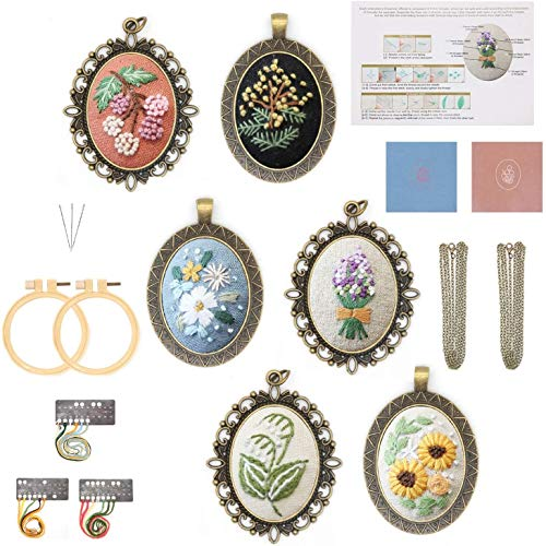 O'woda 6 Pack Pendant Embroidery Starter Kit with Pattern,Pre-Design Plants Pattern with 2 Embroidery Hoop,Color Threads Tools Kit,Cloth Accessories DIY for Earring Backpack Pendant