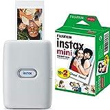 instax Link Smartphone Printer, Ash White und Mini Instant Film, 2X 10 Blatt (20 Blatt), Weiß