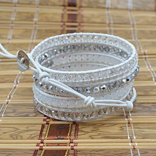 NAWN Pulsera Tejida de Cristal Blanco, Estilo de Moda Pulsera de Brazalete de Tejido de Cristal Blanco con Hilo de Cera Blanco Adecuado para Regalos de cumpleaños
