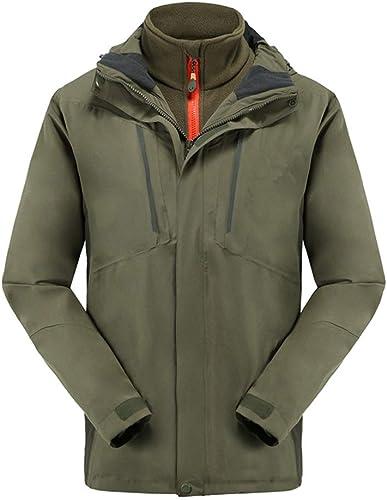 Giow Homme échangeur 3 en 1 Veste de Ski, Coupe-Vent Manteau Chaud imperméable d'hiver avec Doubleure détachable Puffer