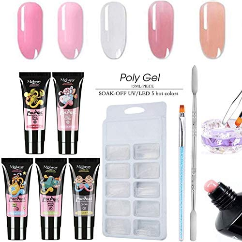 Autobestown Professional Polygel Nail Kit Nail Builder UV Gel Nail Extension Gel Kit Comes with product image