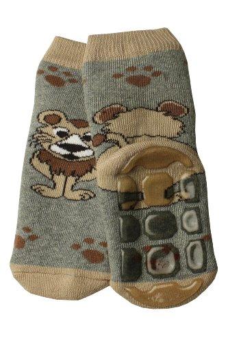 Weri Spezials Baby Voll-ABS Socke in Grau Gr.19-22 (12-24 Monate) Ein lustiger Loewe - ganz rutschfest!