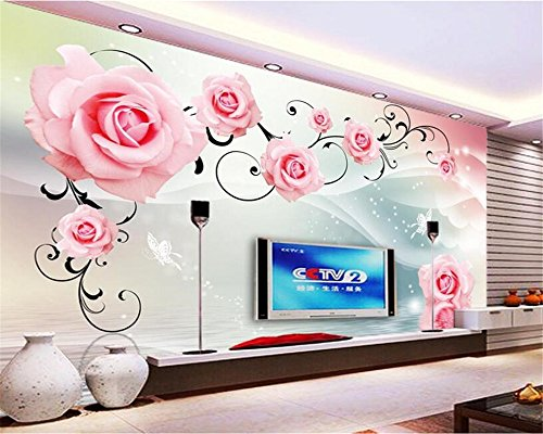 Behang rozen reflectie TV achtergrond wanddecoratie woonkamer bruiloft kamer achtergrond foto behang
