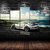 TTTRR Impresión En Lienzo Porsche 911 gt3 RS super coche 5 Piezas Cuadro sobre Lienzo, Modernos Grandes Arte Decoracion Salon Dormitorios Mural Pared Listo para Colgar 150*80 Cm