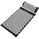 ProsourceFit Acupressure Mat and Pillow Set for Back/Neck Pain Relief and Muscle Relaxation, Black
