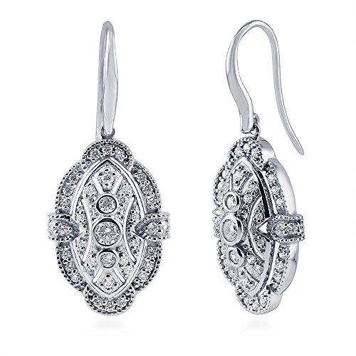 BERRICLE Rhodium Plated Sterling Silver Cubic Zirconia CZ Art Deco Fish Hook Dangle Earrings