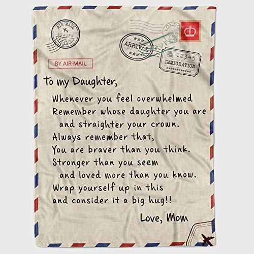 Personalized to My Daughter Gift Letter Fleece Blanket for Daughter from Mom, Whenever You Feel Overwhelmed Great Customized Blanket for Birthday Christmas Thanksgiving Graduation Wedding