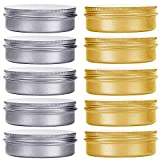 HNXAZG 60 mL Aluminum Tin Cans 2 oz Metal Empty Tins with Screw Top Lids Round for Store Spices, Cosmetic, Lip Balm, Candles, 10 Pack.