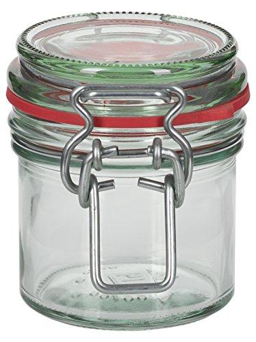 12 x 135 ml Drahtbügelglas / Spannbügelglas rund - inkl. Deckel, Gummidichtung und Spannbügel - Einkochglas - Einweckglas - Einmachglas - Bügelglas - Haushaltsglas - Allzweckglas - Aufbewahrungsglas