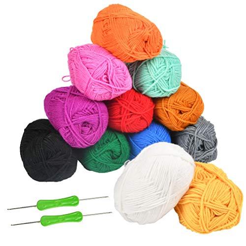 WOWOSS Ovillos de Hilos Acrilicos para Ganchillo, Ovillos de Lana de Colores para Crochet (50g X 12 Colores)