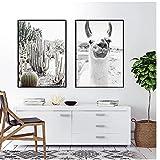 Mmpcpdd Alpaca Poster Canvas Art Painting Animal Print Wall Art Nursery Imagen Decorativa Black White Wall Kids Room Decor-50X70Cmx2 Sin Marco