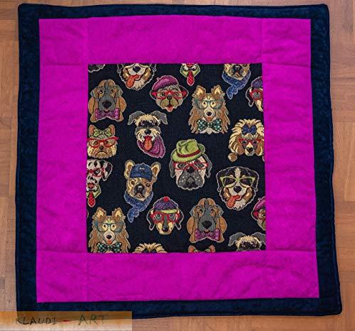 Hundedecke Decke mit lustigen Hundemotiven aus Gobelinstoff und Antirutsch-Rückseite