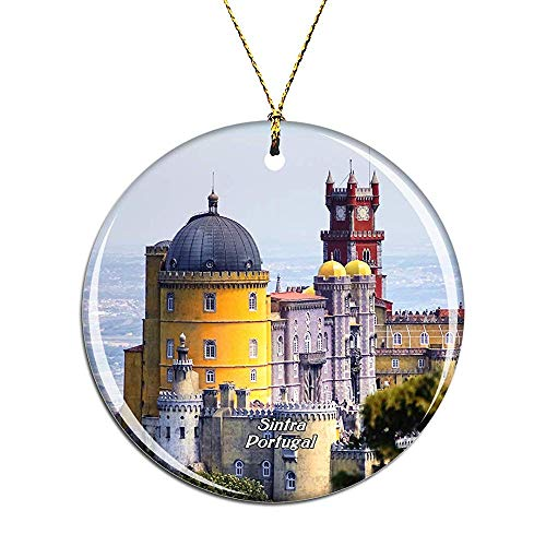 Portugal Park and National Palace of Pena Sintra Christmas Ornaments Ceramic Christmas Tree Decoration Hanging Ornament Xmas Gifts for Kids Girls