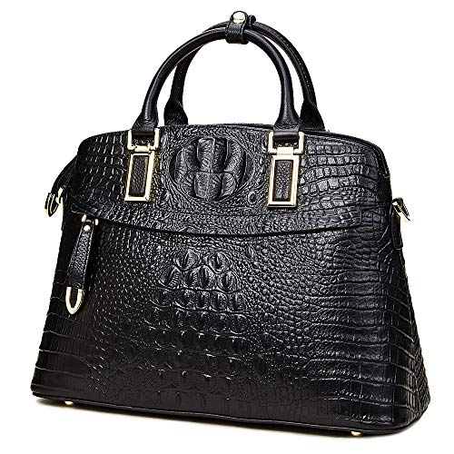 Genuine Leather Top-Handle Bags for Women Full Grain Cowhide Embossed Crocodile Purse and Handbags (Large, Black)
