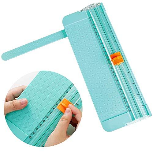 WENTS Mini cortador de papel A5 Hoja de papel portátil de 200 g con regla de plástico transparente extraíble, herramienta de corte de papelería, oficina, estudio, escuela, etc. (Verde)