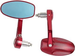 مرايا الرؤية الخلفية للدراجة النارية ، مرآة جانبية لمرآة بار نهاية الطريق ، ثلاثية 675 1050 بونفيل T100 T120 バイク (色 : 赤)