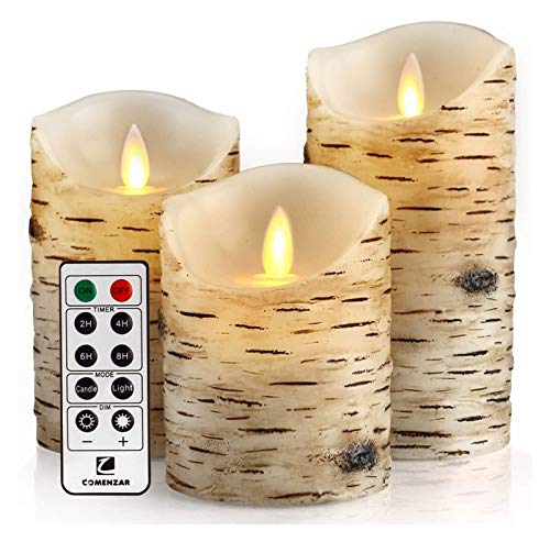 LOEMWJ Jar Candles Candles Birch Set,Flickering Candles, Birch Bark Battery Candles Wax Pillar With Remote Timer Candles (Color : Birch Set of 4 5' 6')