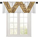 Valances, Steampunk Style Automated ABC Symbol Uppercase W Gears Structure Worn Look Print, 36' W x 18' L Thermal Insulated Valance for Bedroom, Sand Brown