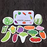 OUYAWEI Baby Kids Cognition Puzzle Toys Toddler Iron Box Cards Matching Game Cognitive Card(Vegetables)