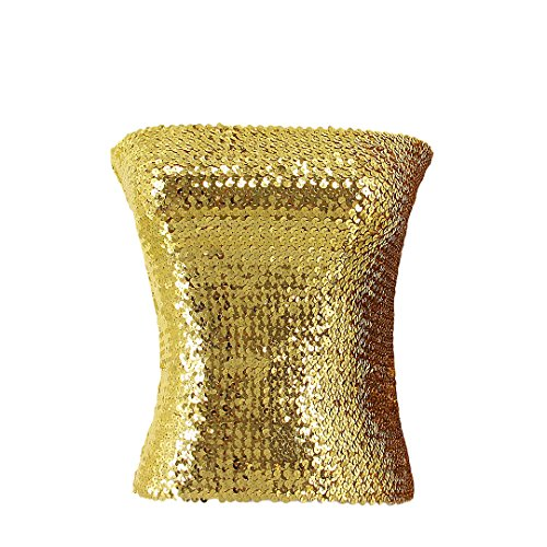 Novia's Choice Women's Shiny Sequin Tube Top Strapless Stretchy Crop Tops Bandeau Clubwear for Party(Gold)